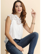 Short Sleeves Chiffon Stand collar Blouses