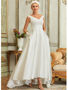 V-neck Asymmetrical Satin Wedding Dress With Pockets