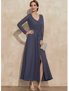 A-Line V-neck Ankle-Length Chiffon Cocktail Dress With Bow(s) Split Front