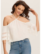 1/2 Sleeves Polyester Cold Shoulder Blouses