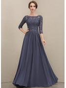 Scoop Neck Floor-Length Chiffon Lace Mother of the Bride Dress With Beading Sequins