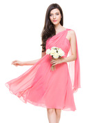One-Shoulder Knee-Length Chiffon Bridesmaid Dress