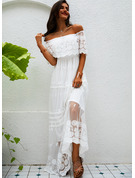 Lace Solid A-line Off the Shoulder 1/2 Sleeves Maxi Elegant Dresses