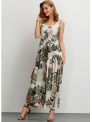 Cotton/Linen With Button/Print Maxi Dress