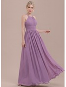 Scoop Neck Floor-Length Chiffon Bridesmaid Dress With Ruffle