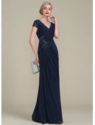 A-Line/Princess V-neck Floor-Length Jersey Mother of the Bride Dress With Beading