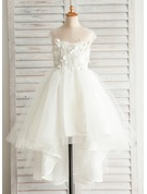 A-Line Asymmetrical Flower Girl Dress - Satin/Tulle/Cotton Sleeveless Scoop Neck With Appliques/V Back