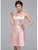 Sheath/Column Sweetheart Knee-Length Charmeuse Bridesmaid Dress With Flower(s)