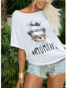 3/4 Sleeves Polyester One Shoulder T-shirt Blouses