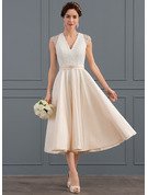 V-neck Tea-Length Satin Wedding Dress With Beading Sequins
