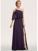 A-Line One-Shoulder Floor-Length Chiffon Evening Dress With Split Front Cascading Ruffles