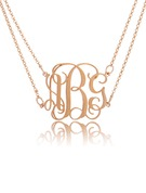 Christmas Gifts For Her - Custom 18k Rose Gold Plated Silver 3D Monogram Necklace