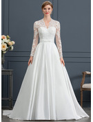 Ball-Gown V-neck Court Train Satin Wedding Dress With Bow(s)