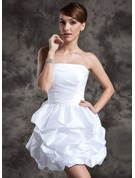 Strapless Short/Mini Taffeta Wedding Dress With Ruffle