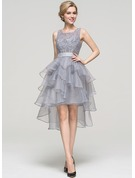A-Line Square Neckline Asymmetrical Organza Homecoming Dress With Beading