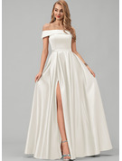 Off-the-Shoulder Floor-Length Satin Wedding Dress With Split Front Pockets
