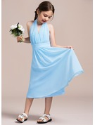 A-Line/Princess Halter Tea-Length Chiffon Junior Bridesmaid Dress With Ruffle