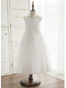 A-Line/Princess Tea-length Flower Girl Dress - Satin/Tulle/Lace Sleeveless V-neck With Bow(s)