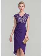 Sheath/Column V-neck Asymmetrical Chiffon Lace Mother of the Bride Dress