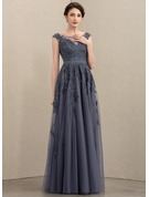 Scoop Neck Floor-Length Tulle Lace Mother of the Bride Dress With Sequins