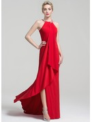 Sheath/Column Scoop Neck Sweep Train Jersey Evening Dress With Beading Cascading Ruffles
