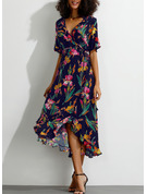 Cotton With Print/Ruffles/Slit Midi Dress