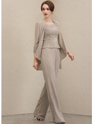 Jumpsuit/Pantsuit Scoop Neck Floor-Length Chiffon Lace Mother of the Bride Dress With Beading Sequins