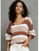 Striped Gros tricot Polyester Col V Pull-overs Pulls
