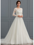 Ball-Gown/Princess Scoop Neck Sweep Train Tulle Wedding Dress