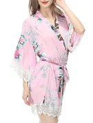 Bride Bridesmaid Cotton With Short Floral Robes Kimono Robes