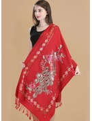 Floral Cold weather Wool Poncho