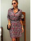 Floral Print A-line Shirt collar Long Sleeves Midi Casual Shirt Skater Dresses