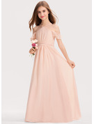 A-Line V-neck Floor-Length Chiffon Junior Bridesmaid Dress With Ruffle Bow(s)