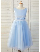 Tea-length Flower Girl Dress - Satin Tulle Lace Sleeveless Scoop Neck With Bow(s)
