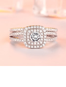 Sterling Silver Cubic Zirconia Vintage Round Cut Promise Rings Bridal Sets