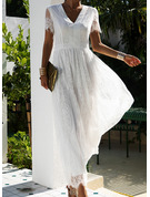 Lace Solid A-line V-Neck Short Sleeves Maxi Elegant Skater Dresses
