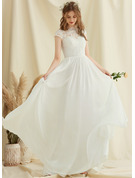 Scoop Neck Floor-Length Chiffon Lace Wedding Dress