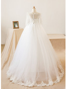 A-Line Floor-length Flower Girl Dress - Tulle/Lace Long Sleeves Bateau