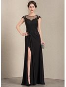 A-Line Scoop Neck Floor-Length Chiffon Lace Mother of the Bride Dress With Beading Sequins Split Front
