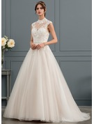 Ball-Gown/Princess Illusion Sweep Train Tulle Wedding Dress With Sequins