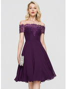 A-Line Off-the-Shoulder Knee-Length Chiffon Homecoming Dress With Beading Sequins