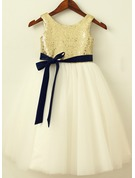 A-Line/Princess Knee-length Flower Girl Dress - Sequined Sleeveless Scoop Neck With Sash