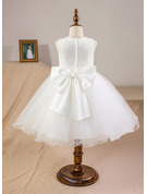 Knee-length Flower Girl Dress - Satin Tulle Lace Sleeveless Scoop Neck With Bow(s)