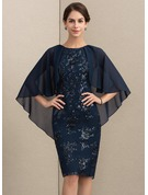Sheath/Column Scoop Neck Knee-Length Chiffon Sequined Mother of the Bride Dress