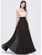 A-Line/Princess High Neck Floor-Length Chiffon Prom Dresses With Beading Sequins