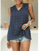 Regular Cotton Blends V-Neck Print Fitted Blouses