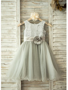 Knee-length Flower Girl Dress - Tulle Sleeveless Scoop Neck With Flower(s) Sequins