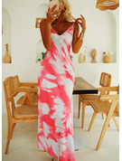 Print A-line Spaghetti Straps Sleeveless Maxi Casual Vacation Skater Type Dresses