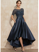 A-Line Scoop Neck Asymmetrical Satin Lace Mother of the Bride Dress With Pockets