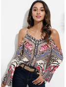 Long Sleeves Flare Sleeve Polyester Cold Shoulder Blouses